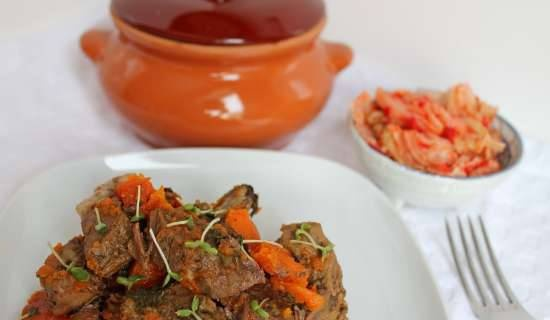 Venison baked with pumpkin in a pot
