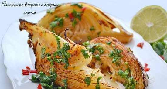 Baked cabbage with spicy sauce