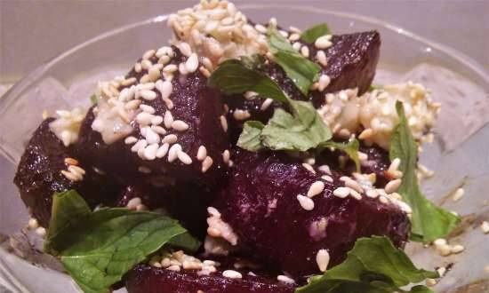 Beetroot snack inspired by Gordon Ramsay's recipe beetroot with balsamic vinegar and Roquefort
