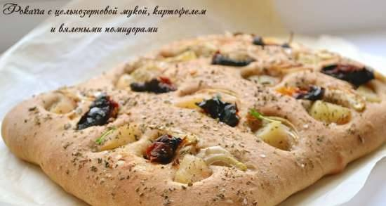 Focaccia with whole grain flour, potatoes and sun-dried tomatoes