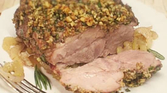 Pork in nuts with herbs and celery marinade