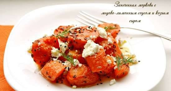 Baked carrots with honey-lemon sauce and goat cheese