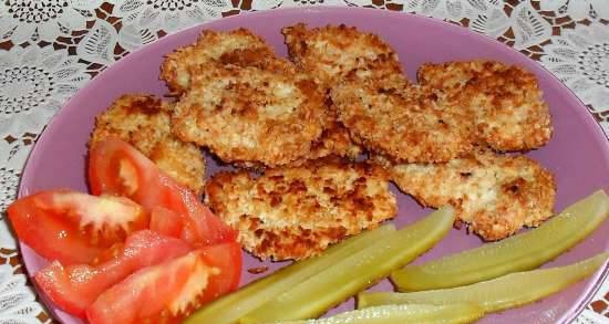 Coconut-baked chicken nuggets