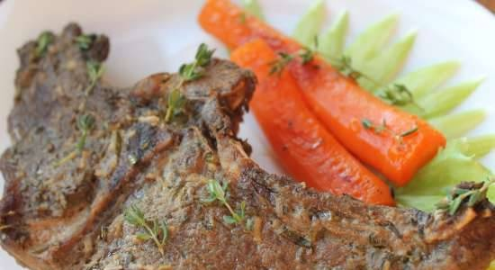Venison on the bone, baked with herbs in a marinade