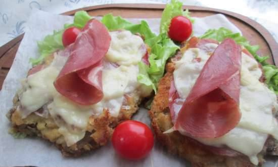 Veal cutlet with cheese crust or cotoletta alla bolognese