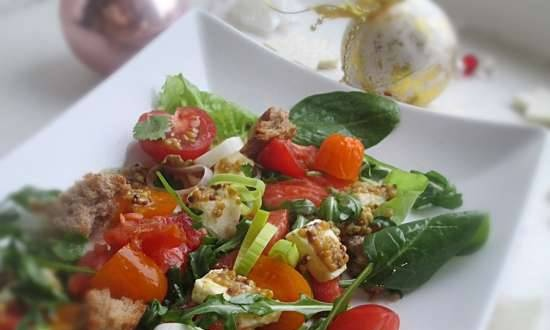 Salmon salad with baked cheese, vegetables and two dressings