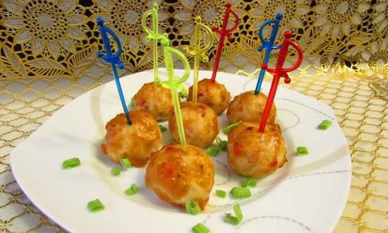 Mini chicken balls baked in sweet and sour sauce