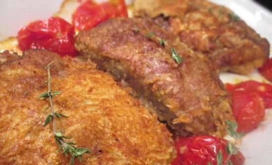 Veal chops with Milanese cheese breading