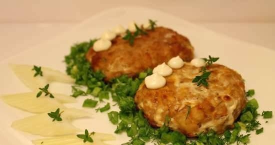 Three types of fish cutlets with pumpkin and Chinese cabbage