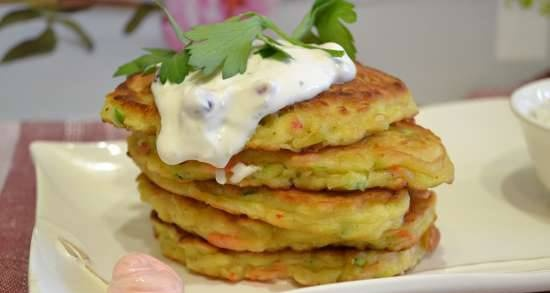 Winter pancakes with zucchini, apples, carrots