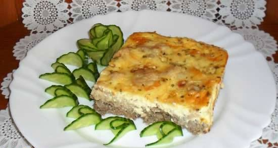 Pork heart and cauliflower pie with curd filling