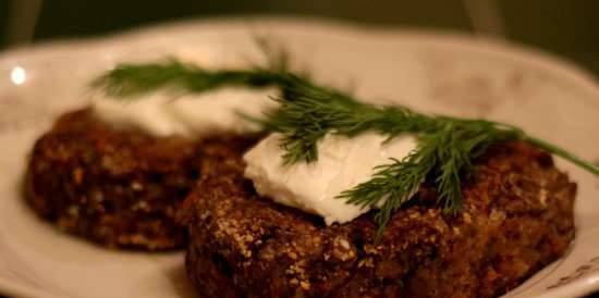 Lean cabbage cutlets with mushrooms on oatmeal and flaxseed flour