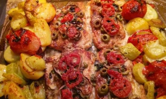 Trout with vegetables in Italian