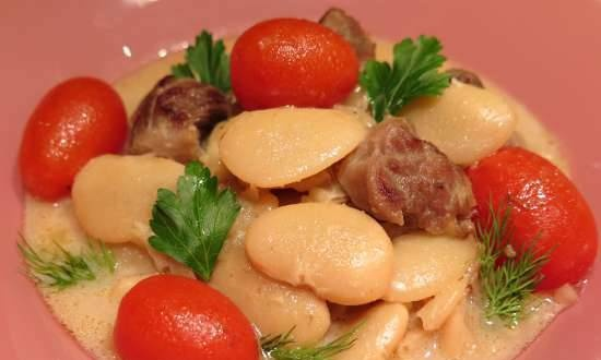 """Beans """"Lima"""" with turkey in a creamy sauce"""