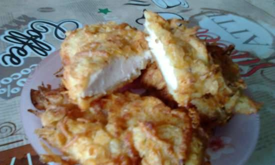 Oven baked chicken breast in chips and cheese