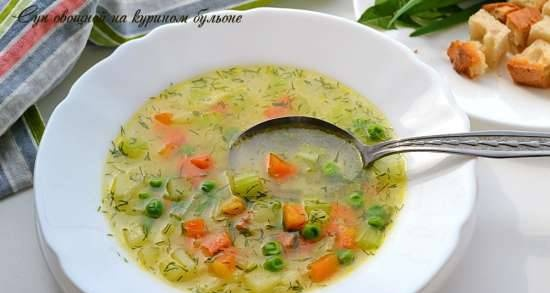 Vegetable soup with chicken broth