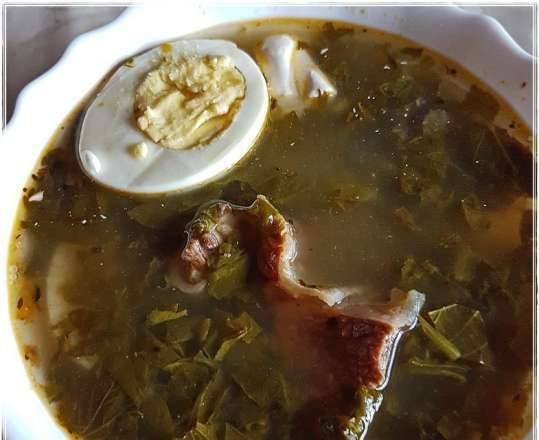 Cabbage soup with nettle, sorrel and beef ribs