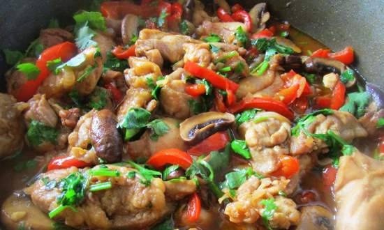 Chicken fillet with vegetables in a pan