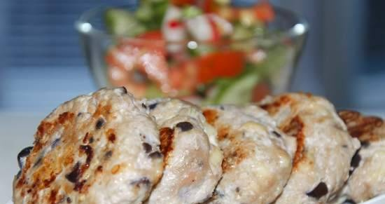 Meat cutlets with eggplant and cheese