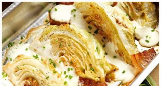 White cabbage, baked in the oven