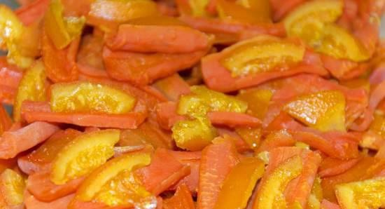 Candied carrots in the dryer