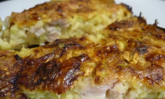 Zucchini casserole with chicken fillet and cheese
