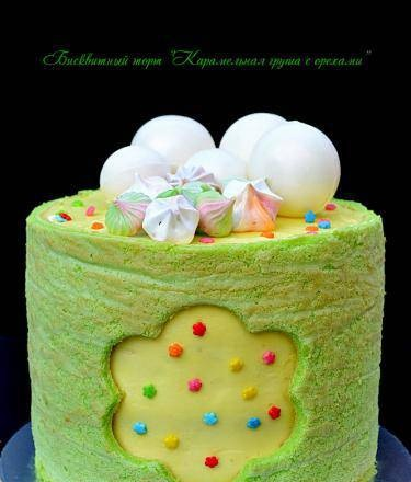 """Sponge cake """"Caramel pear with nuts"""""""