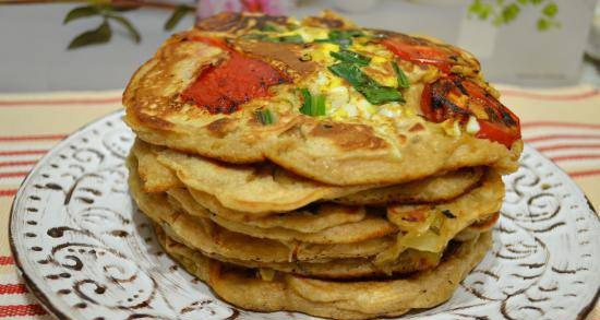 Thick pancakes with curdled milk with whole grain flour and baked
