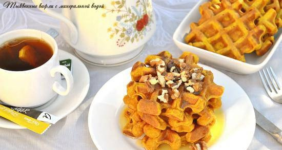 Pumpkin waffles with mineral water