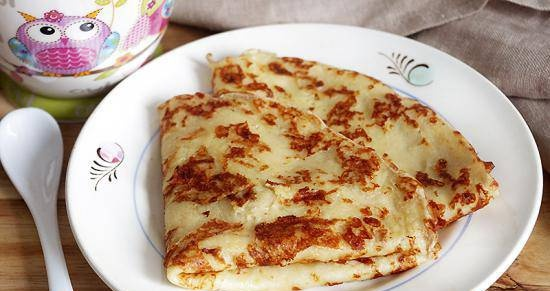 Custard pancakes with potatoes and cheese