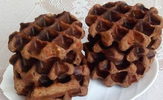 Healthy curd-chocolate thick waffles with prunes and starch-free flour