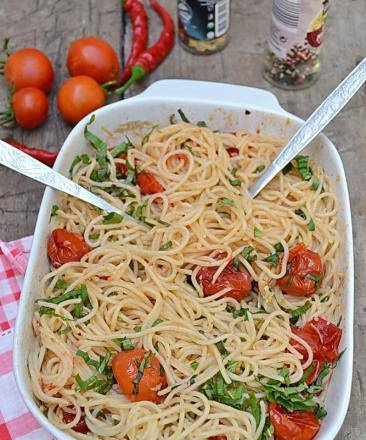 Spaghetti with baked tomatoes (lean)