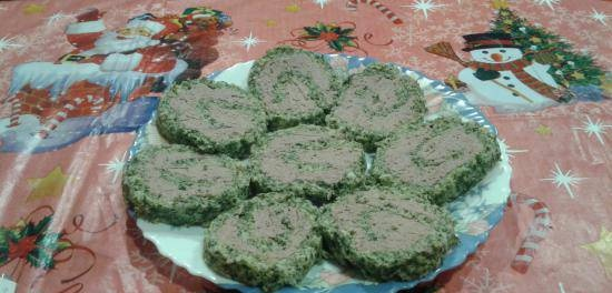 Festive roll with liver and spinach