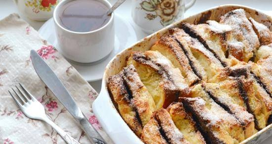 Bread pudding with nutella