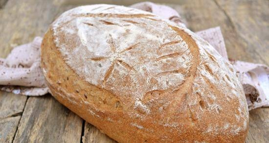Whole grain hearth bread with seeds