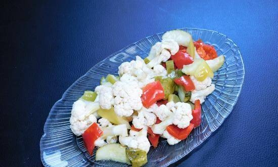 Cauliflower salad in sweet and sour marinade