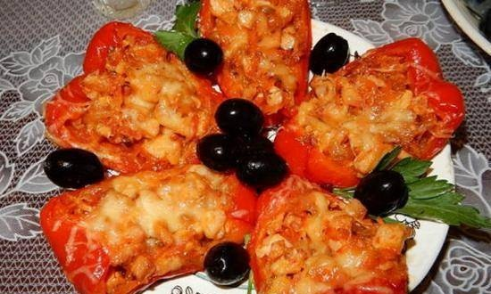 Pepper boats in the oven