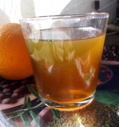 Vitamin drink with dried fruits and orange