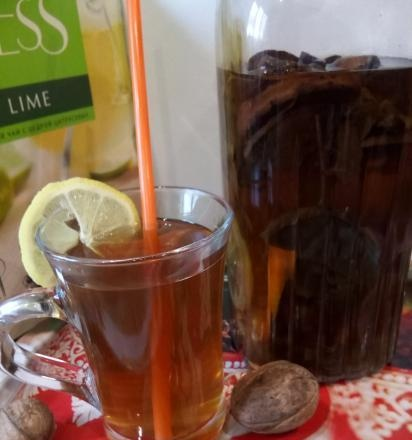 Herbal tea with citrus and dried apples