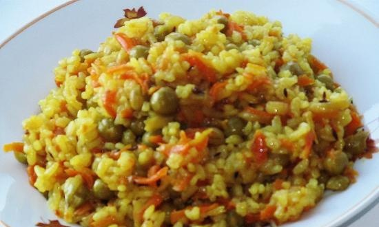 Lean pilaf with peas (+ video)
