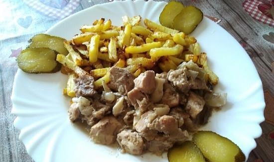 """Stew """"Tender"""" with mushrooms in a slow cooker Kitfort 212"""