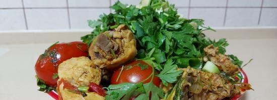 Chakhokhbili from chicken in a cast-iron cauldron (+ video)