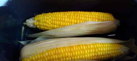Corn on the cob in a double boiler