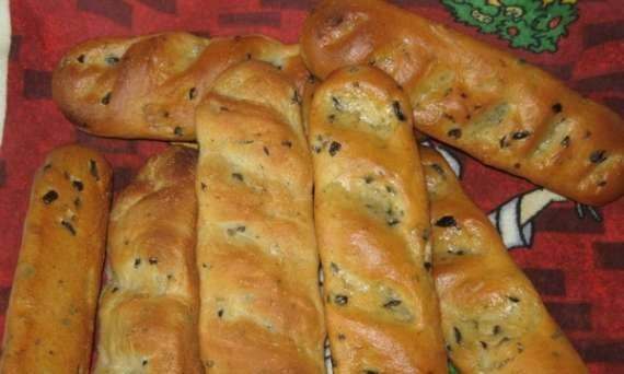 Baguettes with olives and rosemary
