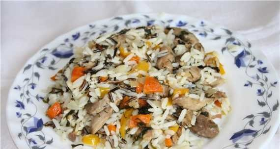 Turkey thigh fillet with vegetables and rice