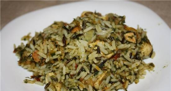 Green rice with chicken and spinach