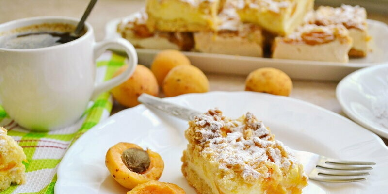 Shortcake with apricot and pudding (+ video)